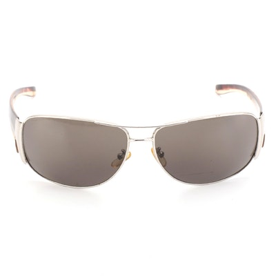 Prada SPR75G Metal and Havana Frame Dark Grey Lens Sunglasses