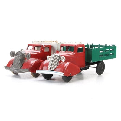 Pressed Steel and Tin Litho Pick-Up Truck Toys, Mid-20th Century