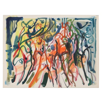 """Jack Meanwell Abstract Watercolor Painting """"Dancing Figures,"""" Late 20th Century"""