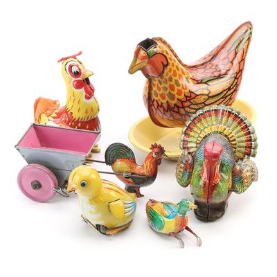 Wyandotte, Linemar, InaKita and Other Tin Lithograph Mechanical Bird Toys