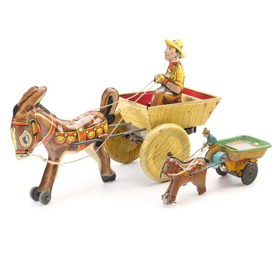 Louis Marx and Alps Tin Lithograph Horse Drawn Wagon Mechanical Toys