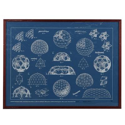 """Buckminster Fuller Serigraph """"Laminar Geodesic Dome,"""" 1981"""