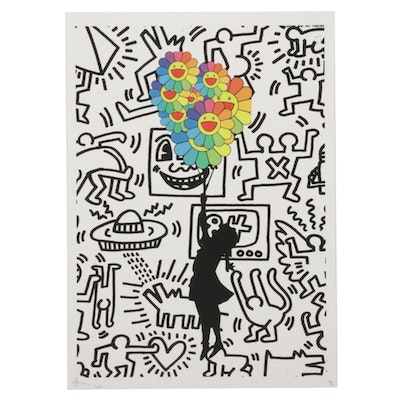Death NYC Pop Art Graphic Print Homage to Banksy and Keith Haring, 2020