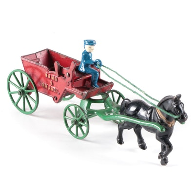 Kenton Sand & Gravel Cast Iron Horse and Wagon Toy, Early 20th Century