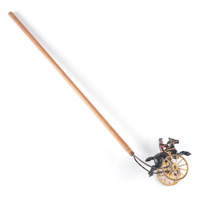 Cast Iron Jockey and Horse Push Stick Toy with Wood Handle, Early 20th Century