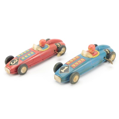 Tin Lithograph Wind-Up Race Cars, Mid-20th Century