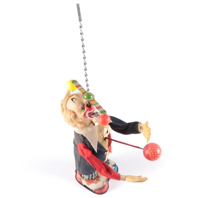 Alps Pinky The Juggling Clown Mechanical Toy, Mid-20th Century