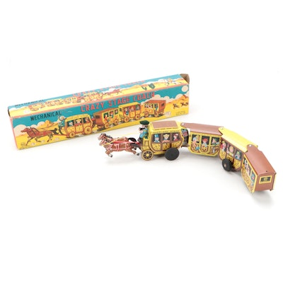 """Linemar """"Crazy Stagecoach"""" Wind-Up Tin Litho Toy Train with Box, Mid-20th C."""