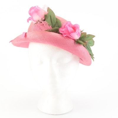 Mr. John Classic Pink Woven Faux Floral Hat with Grosgrain Band