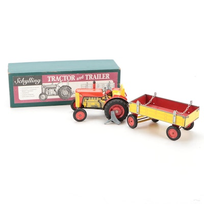 Schylling Zetor Tractor and Trailer Wind-Up Tin Litho Toy with Original Box