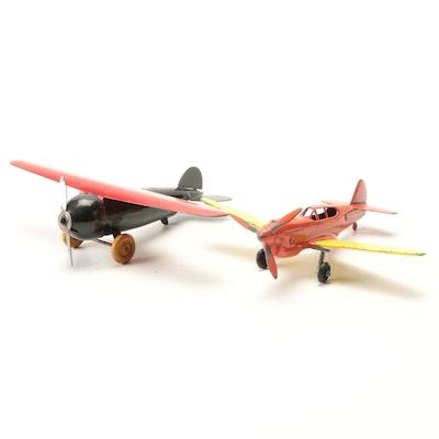 Hubley Curtiss P-40 Warhawk Diecast Metal Airplane with Pressed Steel Airplane