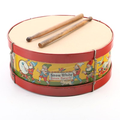 """J. Chein & Co. """"Snow White and the Seven Dwarfs"""" Tin Lithograph Toy Drum"""