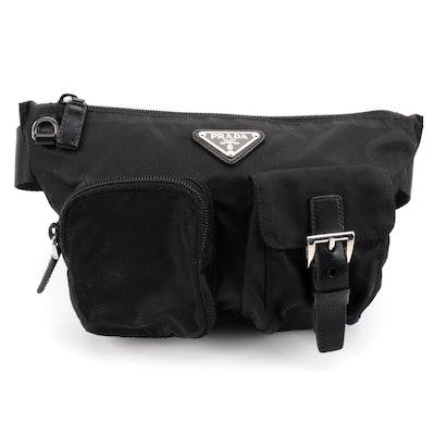 Prada Belt Bag in Black Tessuto Nylon with Smooth Leather Trim