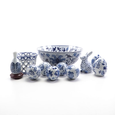 Three Hands Corp. Blue and White Porcelain Bowl and Other Porcelain Décor
