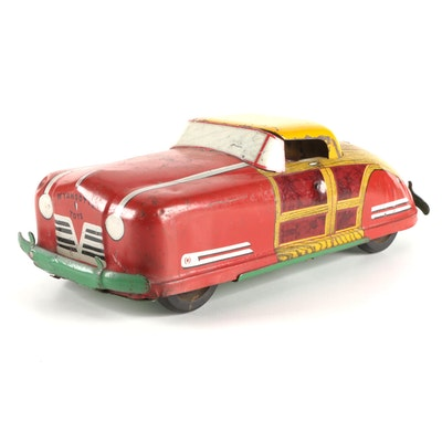 Wyandotte Woody WY-650 Tin Litho Convertible Toy Car, Mid-20th Century