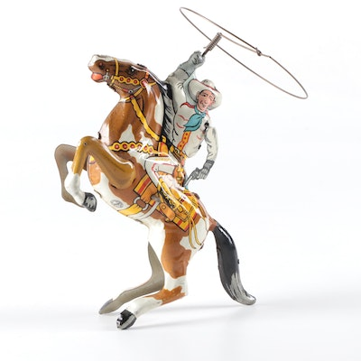 Louis Marx Cowboy Rider Tin Lithograph Wind-Up Toy, 1930s