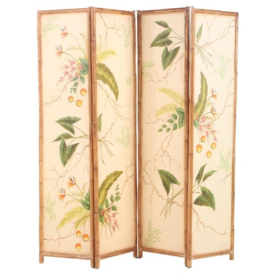 Southeast Asian Paint-Decorated Wood and Bamboo Four-Panel Folding Screen