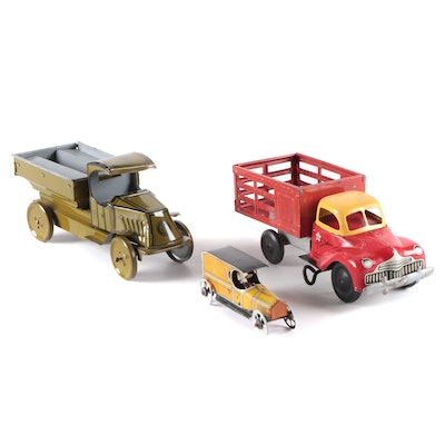 J. Chein Tin Litho Toy Army Truck and Other Tin Litho Trucks, Early/ Mid-20th C.