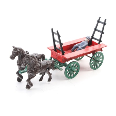 "Stanley ""Hay Rack Wagon"" Diecast Metal Toy Horse Drawn Cart, Mid-20th Century"