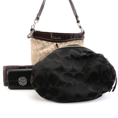 Coach Ali 13642 and Ashley F20111 Signature Sateen Canvas Bags with Wallets