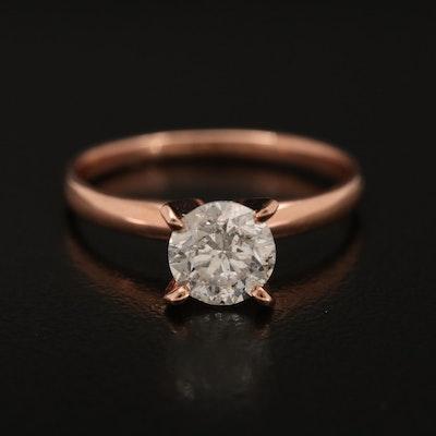 10K Rose Gold 0.96 CTW Diamond Solitaire Ring