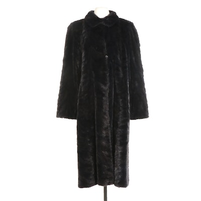 Mink Paw Fur and Grey Leather Reversible Long Coat from Robert Mann Furs