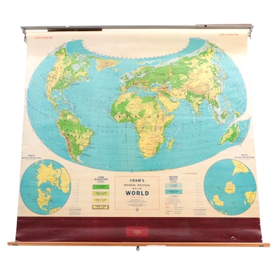 """""""Cram's Physical-Political Map of the World"""" Wall Mount Classroom Map"""