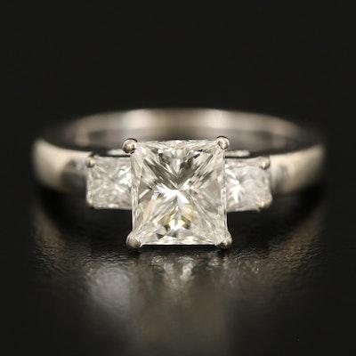 14K 1.88 CTW Diamond Three Stone Ring with GIA Report