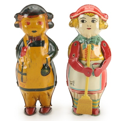 Lindstrom Wind-Up Betty Tin Toys, Early to Mid-20th Century