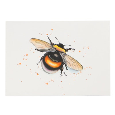 """Anne """"Angor"""" Gorywine Watercolor Painting of a Bumblebee, 21st Century"""