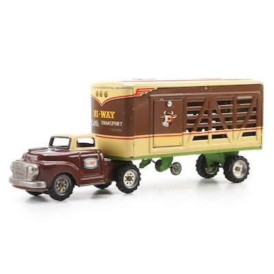 Alps Tin Litho Hi-Way Cattle Transport Toy Truck, Mid-20th Century