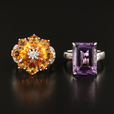Sterling Flower and Statement Rings with Amethyst, Citrine and Diamond