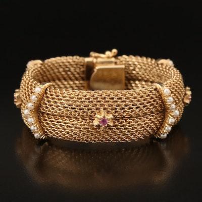 14K Ruby and Seed Pearl Mesh Bracelet
