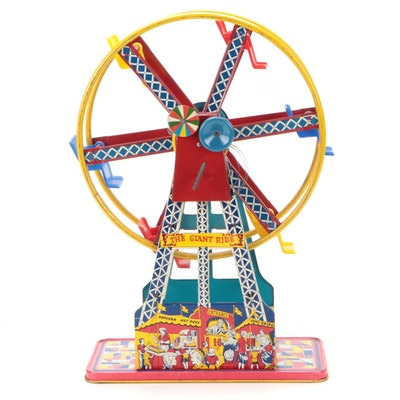 Ohio Art Co. The Giant Ride Wind-Up Tin Litho Ferris Wheel, Mid-20th Century