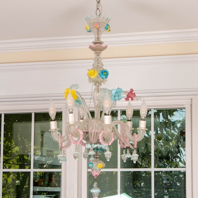 Venetian Glass Pink, Yellow, and Blue Rigaree and Floral Chandelier, Mid-20th C.