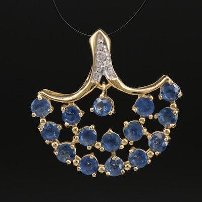 Sterling Sapphire and Zircon Fan Pendant