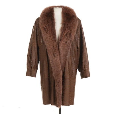 Leather Coat with Fox Fur Collar From Sprung Fréres