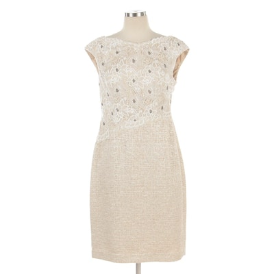 Kay Unger New York Beaded Floral Lace and Metallic Tweed Cap-Sleeve Dress