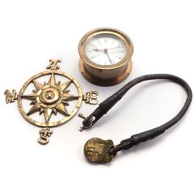 Bell Clock Co. Brass Ship's Clock, Jared Brass Admiralty Padlock, Wall Compass