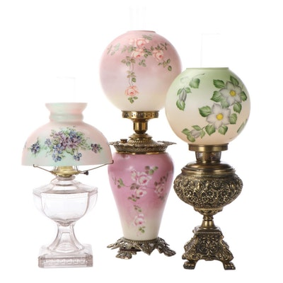 Greek Key Glass Font and Other Parlor Lamps with Hand-Painted Milk Glass Shades