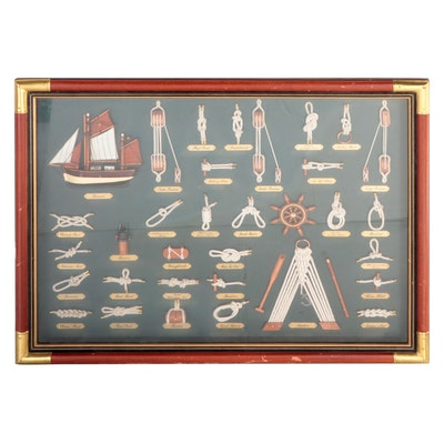 Sailors' Knots and Wooden Model Ship Parts Framed Shadow Box