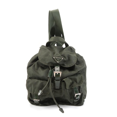 Prada Small Backpack in Green Tessuto Nylon and Smooth Leather