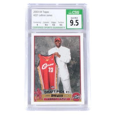 "2003 Lebron James Topps #221 ""Draft Pick"" CSG Graded 9.5 NBA Basketball Card"