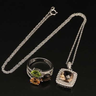 Sterling Smoky Quartz Pendant Necklace and Stacked Ring
