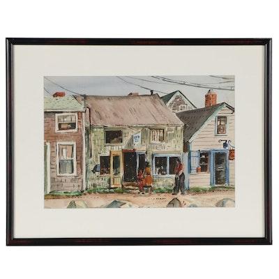 John E. Weis Watercolor Painting of Street Scene
