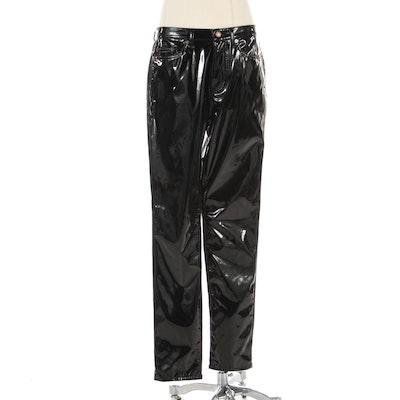 Saint Laurent Black Trousers in Faux Patent Leather