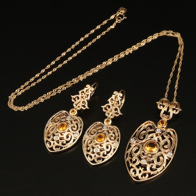 Sterling Citrine and Diamond Pendant Necklace and Earring Set