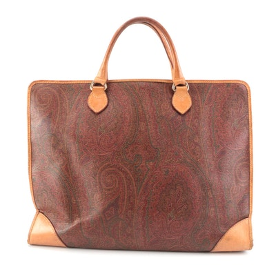ETRO Document Case in Paisley Coated Canvas with Leather Trim