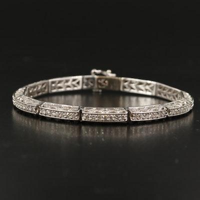 14K 3.04 CTW Diamond Openwork Link Bracelet with Milgrain Detail