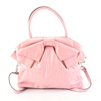 Valentino Handbag in Pink Faux Patent Leather with Bow and Detachable Strap
